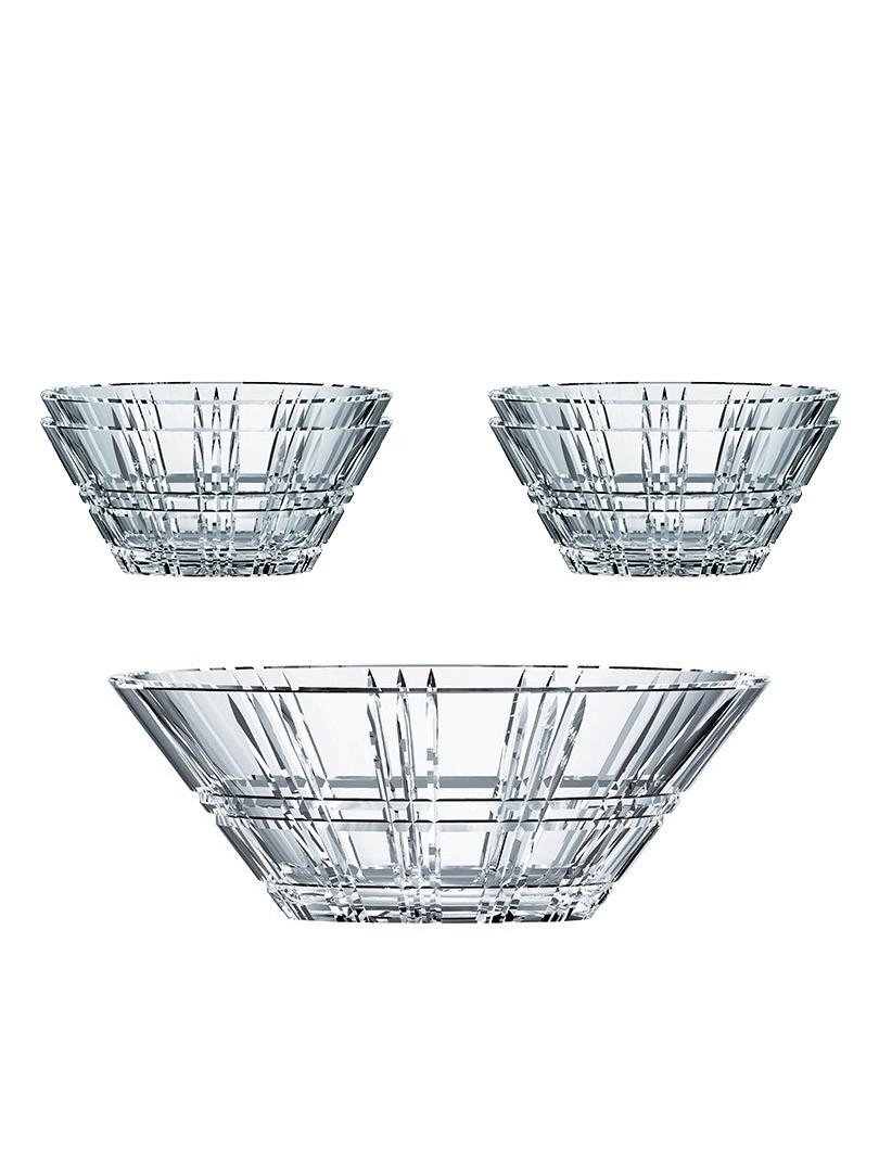 Ensemble de cinq bols en cristal - Square