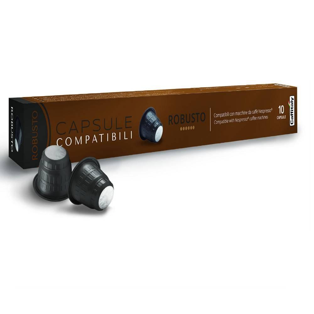 bo te de 10 capsules compatible avec nespresso robusto caf th et accessoires pour la. Black Bedroom Furniture Sets. Home Design Ideas