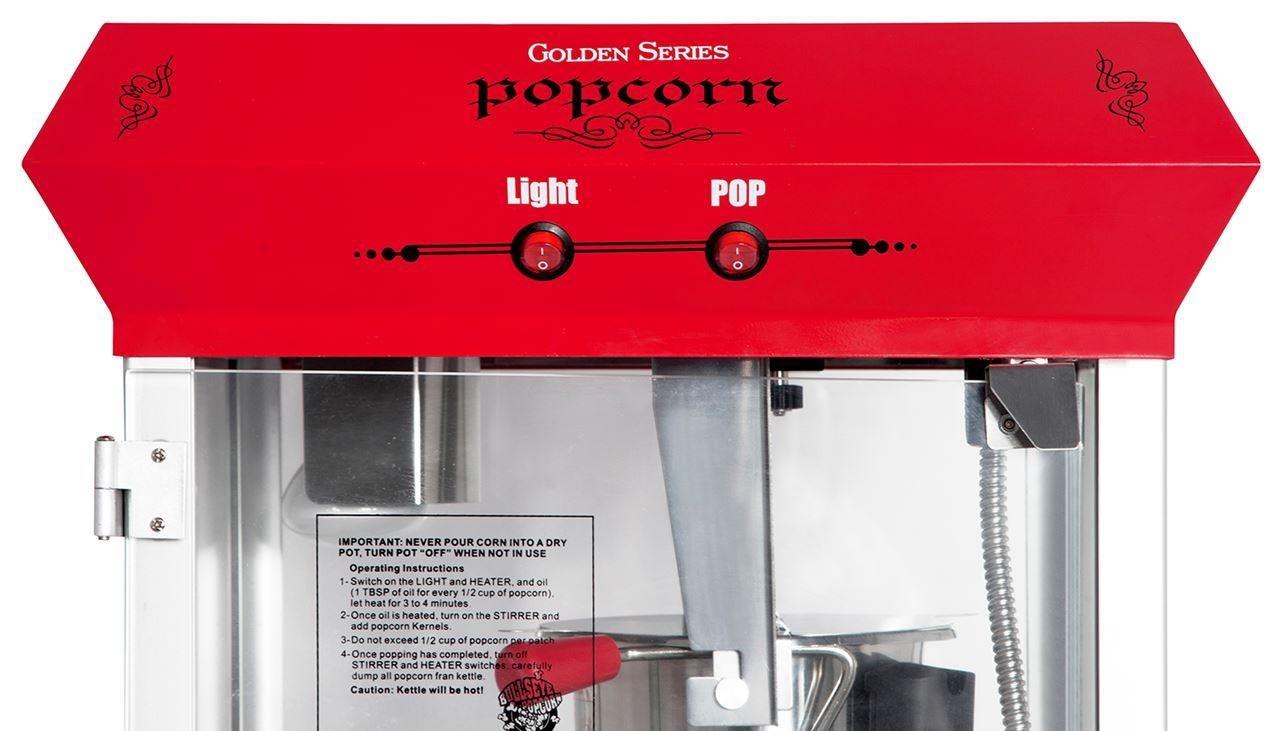 Machine à maïs éclaté Golden avec chariot - Rouge