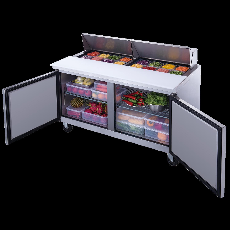 """Table de préparation réfrigérée deux portes pleines 60"""" - 16 récipients"""