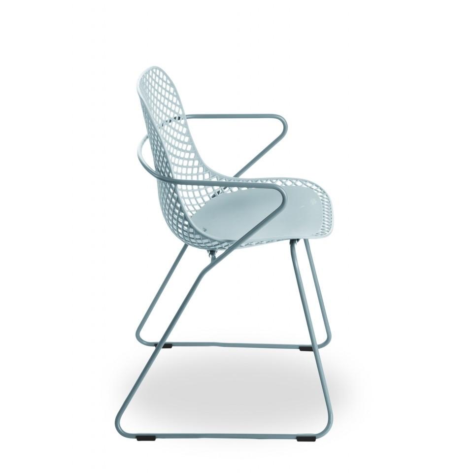 Chaise en métal avec appuis-bras Ramatuelle 73' - Bleu ether