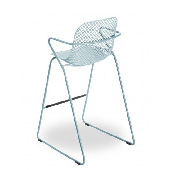 Chaise de bar en métal Ramatuelle 73' - Bleu ether
