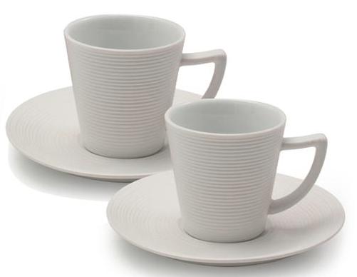 Ensemble de deux tasses à cappuccino blanches 2 oz avec soucoupes - Dolce Vita