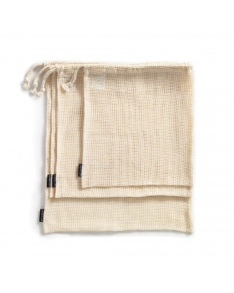 Ensemble de quatre sacs en coton réutilisables