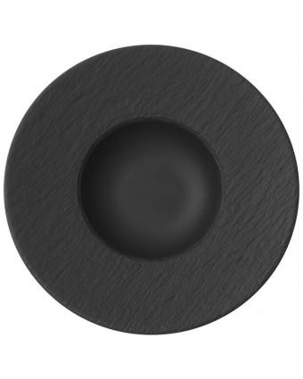 """Assiette à pâtes ronde 11,5"""" - Manufacture Rock gris-noir"""