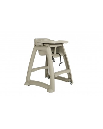 Chaise haute avec roulettes et plateau
