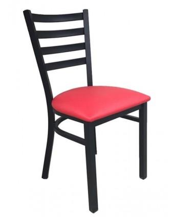 Chaise en métal avec siège en vinyle Leo - Noir et rouge