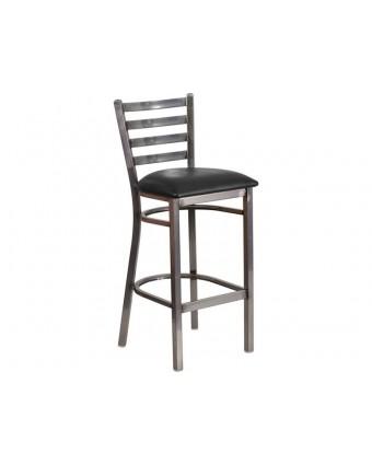 Chaise de bar en métal avec siège en vinyle Leo - Gris et noir