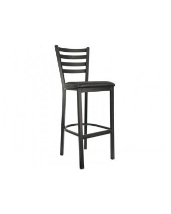 Chaise de bar en métal avec siège en vinyle Leo - Noir