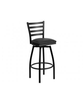 Chaise de bar pivotante en métal avec siège en vinyle Leo - Noir et rouge