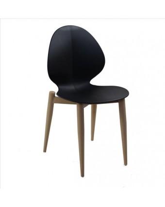 Chaise en métal et en polypropylène Petal - Noir et noyer