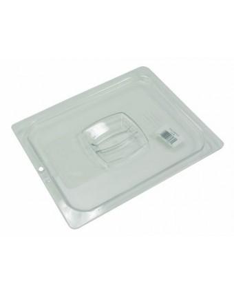 Couvercle transparent avec poignée et encoche pour cuillère - Demi-grandeur