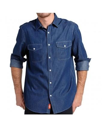 Chemise en denim pour homme moyen - Bleu