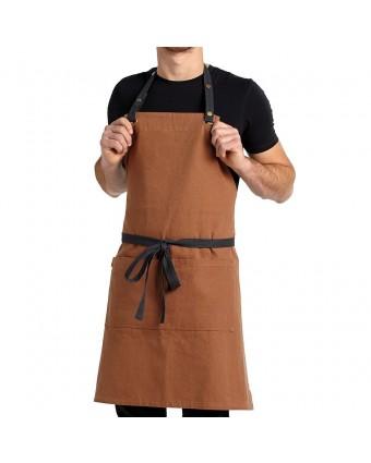 Tablier bavette en toile avec poche Billy - Orange cuivré