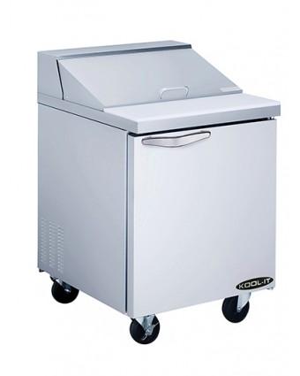 """Table de préparation réfrigérée une porte 27"""" - 8 récipients"""