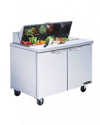 """Table de préparation réfrigérée deux portes 60"""" - 16 récipients"""