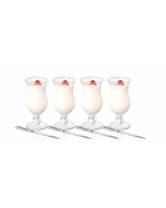 Ensemble de quatre verres à parfait et cuillères