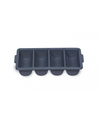Bac à coutellerie en plastique à quatre compartiments - Gris