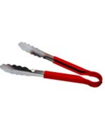 """Pinces en acier inoxydable avec manche en plastique 12"""" - Rouge"""
