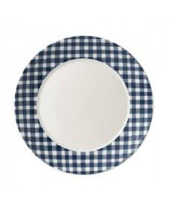 "Assiette ronde 11,6"" - Gingham Blue"