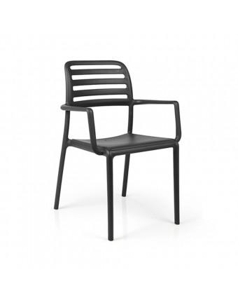 Chaise d'extérieur avec appuis-bras Costa - Anthracite