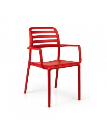 Chaise d'extérieur avec appuis-bras Costa - Rosso