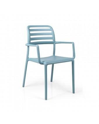 Chaise d'extérieur avec appuis-bras Costa - Celeste