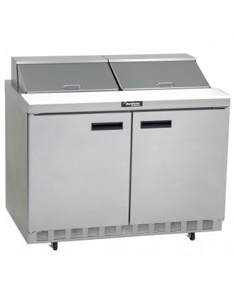 """Table de préparation réfrigérée deux portes pleines 48"""" - 12 récipients"""