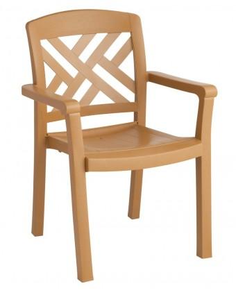 Chaise en résine avec appuis-bras Sanibel - Teck