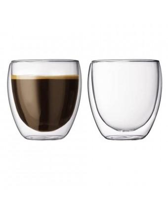 Ensemble de deux tasses en verre à double paroi 8,5 oz - Pavina