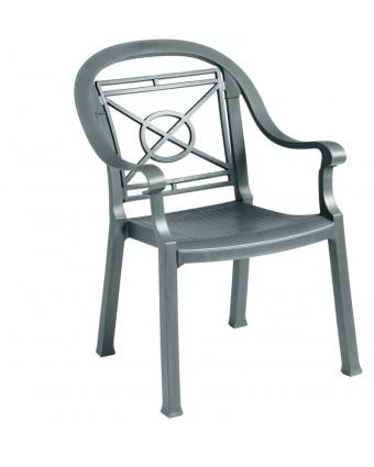 Chaise en résine avec appuis-bras Victoria - Charbon