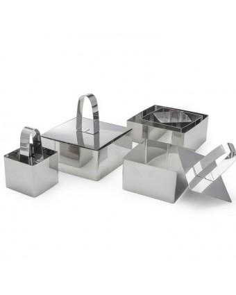 Ensemble d'emporte-pièces et de poussoirs en acier inoxydable carrés neuf pièces