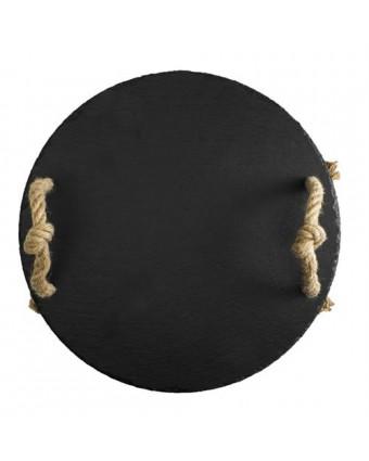 Plateau round ardoise 38 cm avec poignées de corde