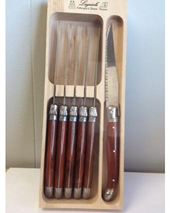 Ensemble de six couteaux à steak - Marron marbré