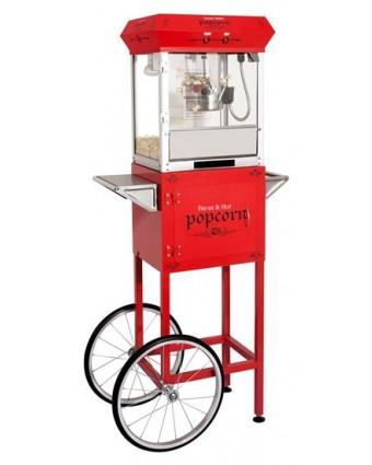 Machine à popcorn Golden avec chariot - Rouge