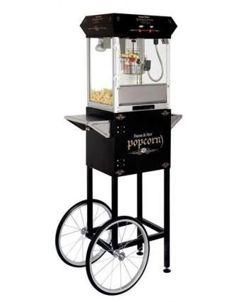 Machine à popcorn Golden avec chariot - Noir