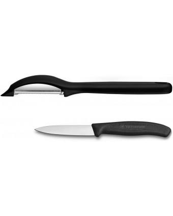 Ensemble éplucheur et couteau d'office - Noir