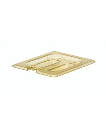 Couvercle ambré avec poignée et encoche pour cuillère H-Pan - 1/3