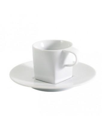 Tasse à café express et soucoupe carrée
