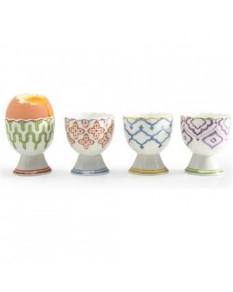 Ensemble de quatre coquetiers en porcelaine - Marrakech
