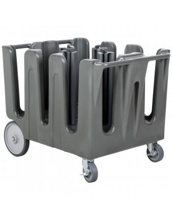 Chariot pour assiettes ajustable à neuf piles - Gris