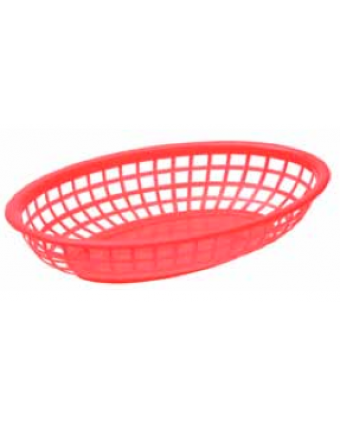 "Panier en polyéthylène ovale 9,4"" x 6"" - Rouge"