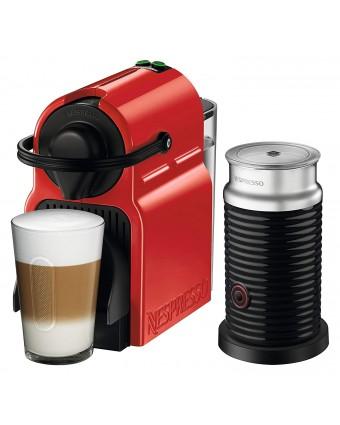 Machine à café à capsules Inissia et mousseur de lait Aeroccino - Rouge