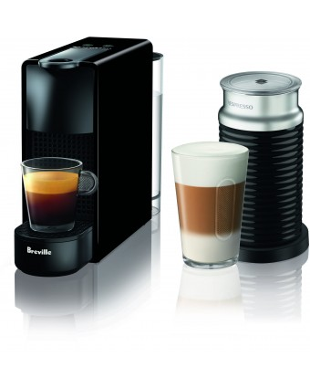 Machine à café à capsules Essenza Mini et mousseur de lait Aeroccino - Noir