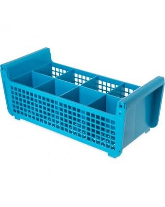 Panier demi-grandeur pour coutellerie à 8 compartiments - Bleu
