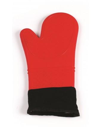 Mitaine de four en silicone et en coton 15'' – Rouge
