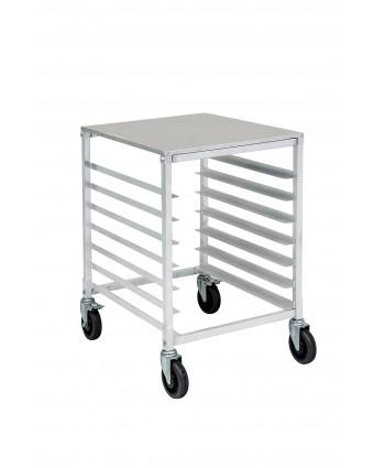 Chariot à angles en aluminium comprenant sept tablettes