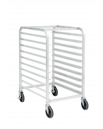 Chariot à angles en aluminium comprenant dix tablettes