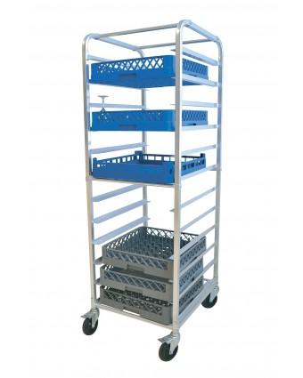 Chariot à paniers à lave-vaisselle en aluminium comprenant douze tablettes