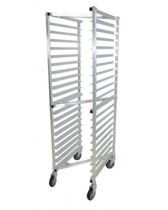 Chariot à angles en aluminium comprenant vingt tablettes